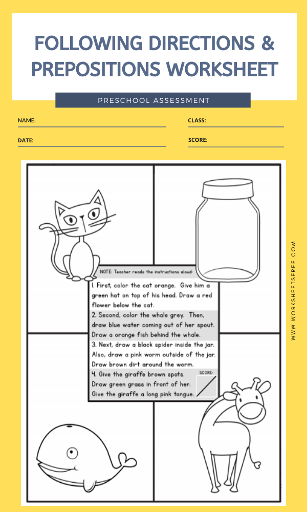 FOLLOWING DIRECTIONS & PREPOSITIONS WORKSHEET   Worksheets ...